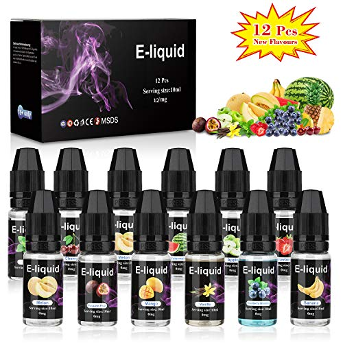 E-Líquido, 12 X 10mL E Liquido Vaper Sin Nicotina, E-Liquid VG70/PG30, Set E-Líquido Para Cigarrillos Electrónicos/E Shisha/E Hookah | Nuevos Sabores