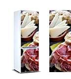 Pegatinas Vinilo para Frigorífico Platos jamón y Queso | Varias Medidas 185 x 60 cm | Adhesivo Resistente y de Fácil Aplicación | Pegatina Adhesiva Decorativa de Diseño Elegante