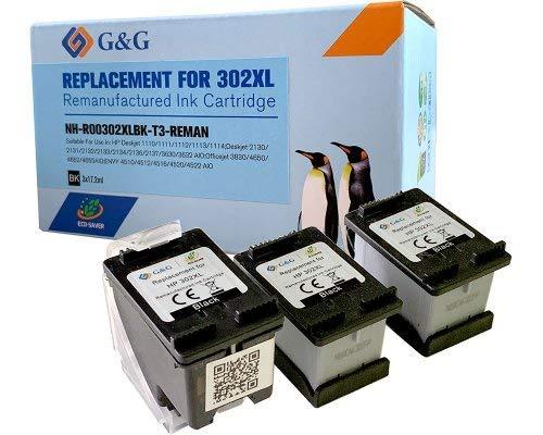 G&G 3x Druckerpatronen kompatibel zu HP 302XL / F6U68AE schwarz für HP Envy 4511 4520 4525 Allinone HP DeskJet 3630 3636 2130 1110 3631 HP OfficeJet 3830 3831 3835 4655 5200 5230 5220