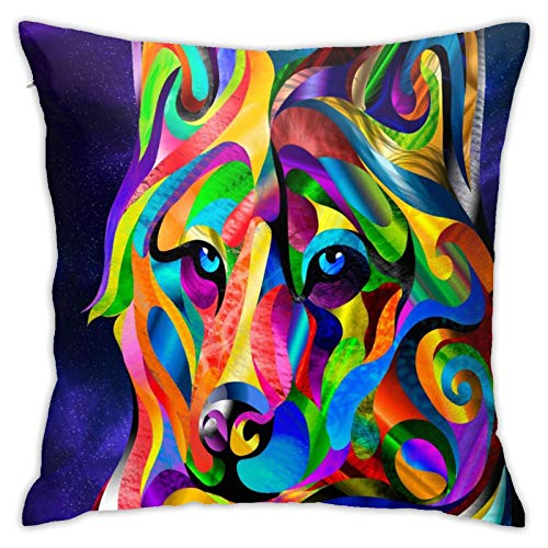 wteqofy Colorful Wolf,Pillow Case Couch Pillow Cover Durability Soft Thanksgiving Toddlers Bedrooms Spas for Home Decorative Bedroom/Living Room/Car 18inch*18inch