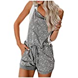 LUDAY Women's Summer Tie Dye Jumpsuit Casual Loose Sleeveless Jumpsuit Rompers with Pockets Elastic Waist Playsuit