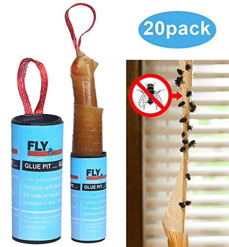 20 Pack Sticky Fly Ribbon Catcher, Fruit Fly Traps for Kitchen, Fly Paper Strips Indoor