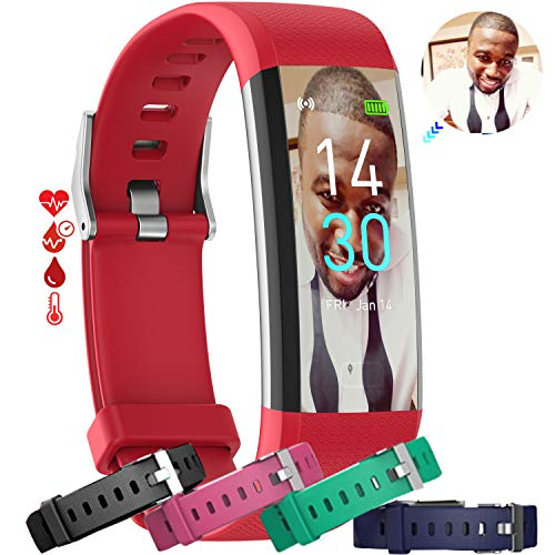 MCNNADI Fitness Tracker [4 Extra Straps] Blood Pressure, Heart Rate, Blood Oxygen, Temperature & Sleep Monitor, Activity Tracker, Customizable face, Remote Camera, Waterproof, Pedometer Watch (Red)
