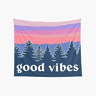 CuYatry Good Vibes Boutique Tapestry Wall Hanging Tapestry Vintage Tapestry Wall Tapestry Micro Fiber Peach Home Decor 59.1X51.2 in