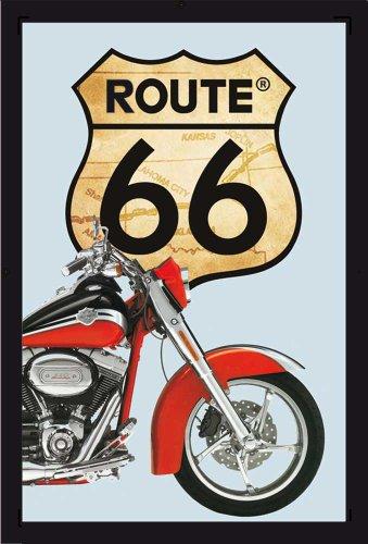 empireposter - Route 66 - rode fiets - grootte (cm), ca. 20x30 - Bedrukte spiegel, NIEUW - beschrijving: - Bedrukte wandspiegel met zwart kunststof frame in houtlook -