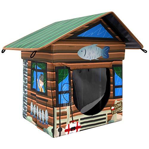 Kitty City Katzenhaus für den Außenbereich, wasserabweisend, Braun (CM-10081-CS01)