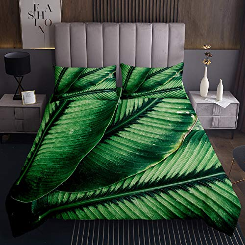 Erosebridal Adults Leaf Quilt Large Tropical Leaves Bedspread Rainforest Botanical Coverlet Set for Kids Boys Girls Natural Theme Daybed Bedroom Decor with 2 Pillow Cases Queen Size Green