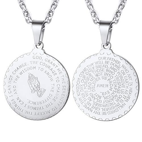 PROSTEEL Colgante Oración Medallón Acero Inoxidable Collares Hombre Tono Plata