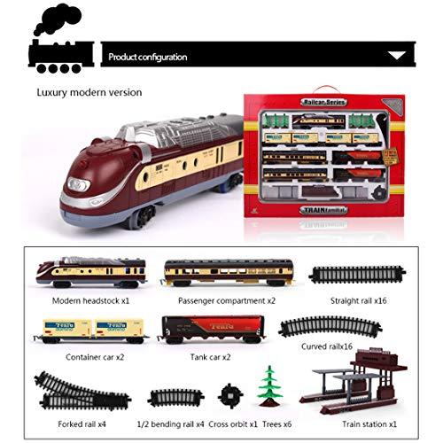 Matuke Modelleisenbahn Set, H0 1:87 Modelleisenbahn Bahn Reisezug Set Batteriebetriebene Bahn Eisenbahn spielzeugauto, Spur H0, für Einsteiger