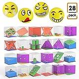 JIM'S STORE 24pcs Labyrinthe de Cube 3D avec des Billes de roulement Jeu de Puzzle Jeu éducatif Jeu de réflexion Casse-tête + 4pcs Ball Anti-Stress Emoji Anti-Stress