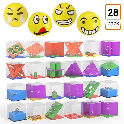 JIM'S STORE Gioco di Puzzle Gioco educativo Rompicapo Puzzle Gioco di abilità, 24pz Labirinto cubo 3D con Palline + 4pz Palla Emoji Antistress