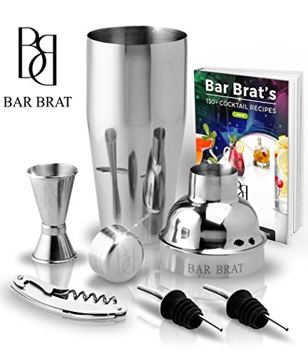 5 Piece Deluxe 24 Oz. Cocktail Shaker Bar Set by Bar Brat / Bonus 130+ Cocktail Recipes (ebook) /...