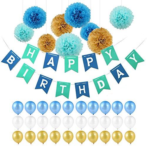 POMISTY Deko Geburtstag Kindergeburtstag Geburtstag Dekoration Set Happy Birthday Dekoration 40 Stücks mit 9 Papier Pom Poms + 30 Große Geperlte Ballons +1 Happy Birthday Banner (Blau)