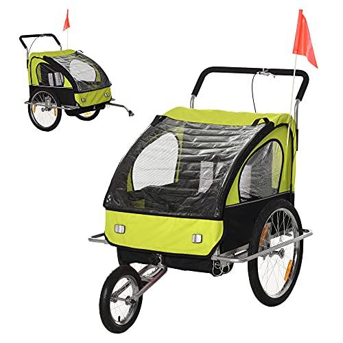 HOMCOM 2 en 1 Remolque de Bicicleta para Niños de 2 Plazas con Amortiguadores Convertible en Carro para Correr con Barra y Kit de Footing 129x85x105cm Verde