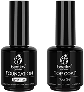 Best Beetles 2 Pcs 15ml No Wipe Gel Top Coat and Base Coat Set - Shine Finish and Long Lasting, Soak Off LED Gel Base Top Coat Glossy Shine Finish Reviews