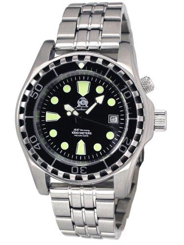 Taucher Uhr m. Automatik Werk Saphir Glas Edelstahlband T0257M
