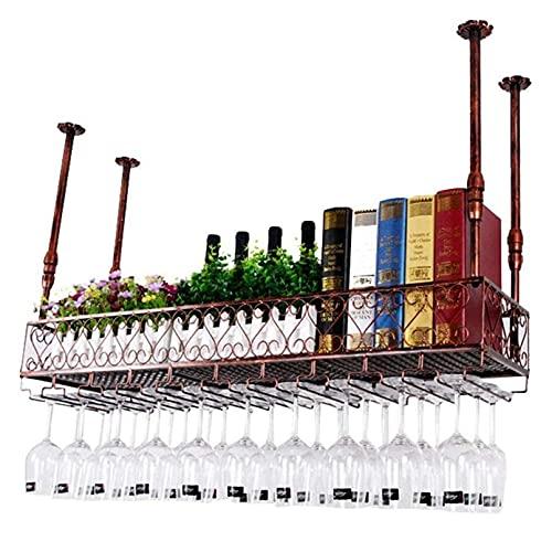 XJZKA Estantes para Vino, Unidad de Barra, Soporte Flotante para Copas de Vino, Soporte para Copas de Techo, Soporte para Botellas de Vino Europeo, estantes para gabinetes rústicos, sopo
