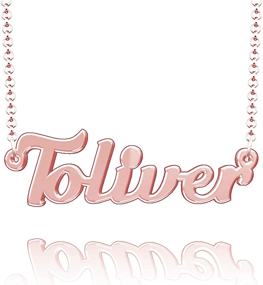 LoEnMe Jewelry Customized Toliver Name Necklace Stainless Steel Plated Custom Made of Last Name Gift for Family