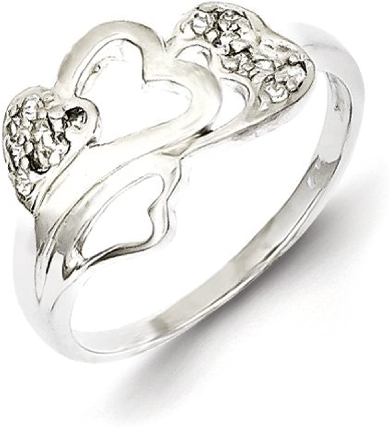 gold and Watches Sterling Silver CZ Open Heart Ring