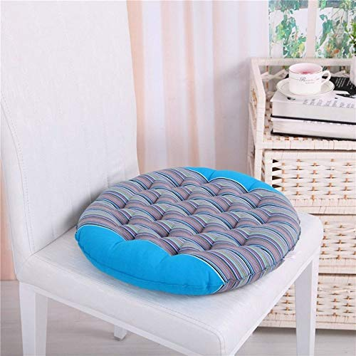 FKIHK SitzkissenLuxus-Dekokissen aus 100% Baumwolle mit Streifenmuster. Sitzkissen rund/quadratisch, Streifen blau