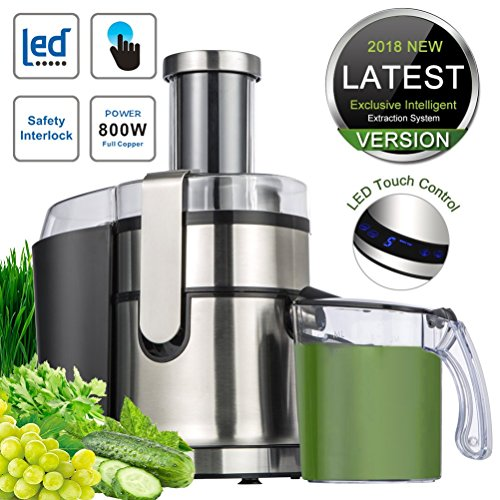 SOMOYA JE-80 Extractor,Wide Mouth Masticating Juicer Machine LED Touch Control Function with Juice Jug,Anti-drip,800W-High Nutrient Fruit & Vegetable, 15.7 x 10.6 x 7.9