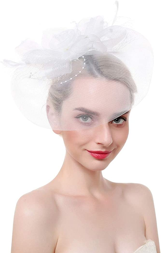 Bohend Feather Wedding Veil Mesh Headwear Fascinator Flower Hat Top Tea Party Derby Hair Accessories for Women and Girls