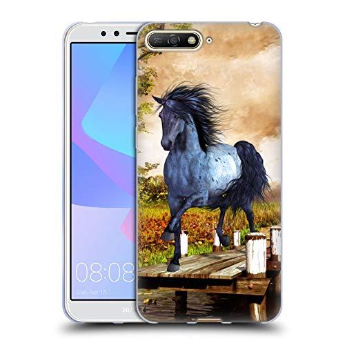 Head Case Designs Offizielle Simone Gatterwe Auf Dem See Pferde Soft Gel Huelle kompatibel mit Huawei Y6 (2018)