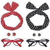 Ouinne Donna Anni 50 Accessori Costume Set, Ragazza Fascia per Capelli Orecchini Occhiali Occhio di Gatto per Festa (Rosso e Nero)