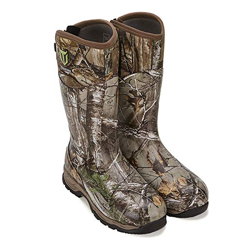 TIDEWE Rubber Hunting Boots with 800g Insulation, Waterproof Insulated Realtree Xtra Camo Warm Rubber Boots with 6mm Neoprene, Durable Outdoor Muck Hunting Boots for Men (Size 5)