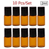 CALISTOUK Tropfflasche / Ampullen aus Glas, für ätherische Öle, bernsteinfarben, 2ML, 10 Stück