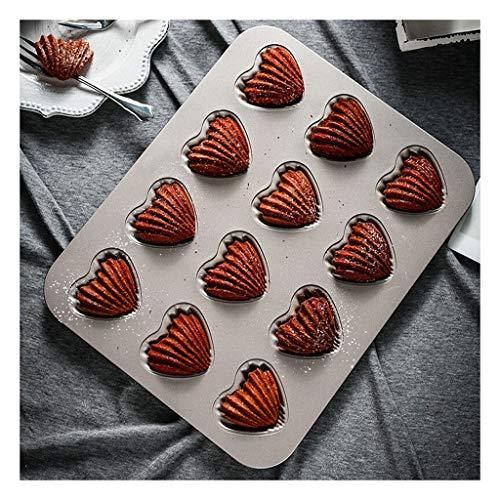 ZY Moldes para Tartas y bizcochos Mini Torta de Pan Antiadherente en Forma de corazón 12 Copas Madeleine Pan Torta de los Pasteles Molde Bandeja de Horno Moldes