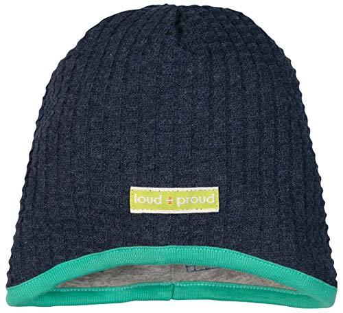 loud + proud Jungen Wendemütze Strick Aus Bio Baumwolle, GOTS Zertifiziert Mütze, Blau (Midnight Mi), 47/49 (Herstellergröße: 98/104)