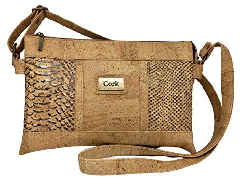Kaibe Bolso bandolera de corcho natural con estampado y doble compartimento (marrón2)