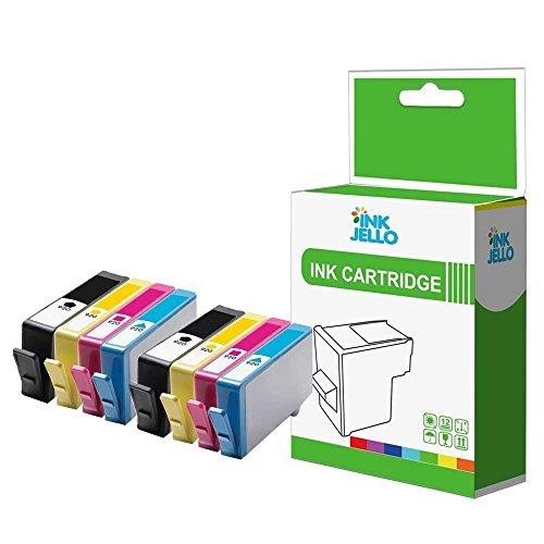 InkJello Compatible Tinta Cartucho Reemplazo para HP Officejet 6000 Wireless 6500 (A-i-O) 6500 Wireles 6500A (e-A-i-O) 6500A Plus (e-A-i-O) 7000 Wide Format 7500A Wide Format -920XL(BKCMY 8-Pack)