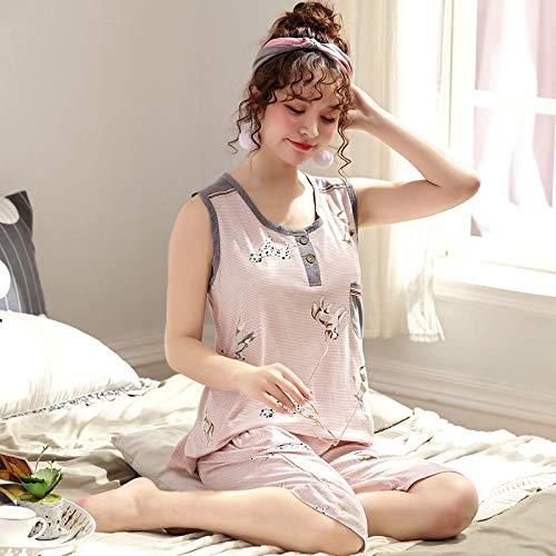 DFDLNL Verano Animal Perro 100% algodón Conjunto de Pijama Mujeres Chaleco Ropa de Dormir Pijama Mujer sin Mangas Ropa de casa XXXL