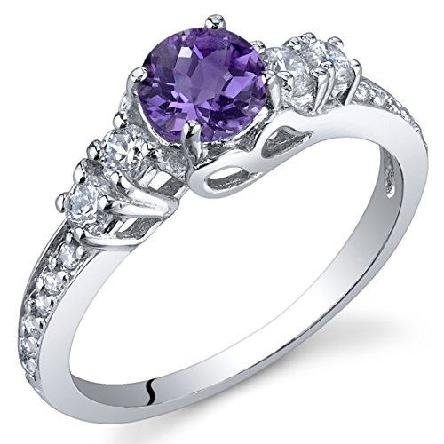 Peora Enchanting 0.50 Carats Amethyst Ring in Sterling Silver Size 8