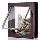 Smilelove Katzenklappe Hundeklappe 4 Wege Magnet-Verschluss für Katzen, große Hunde Hundetür Katzentür Haustierklappe, Installieren Leicht mit Teleskoprahmen (Großer Kaffee)