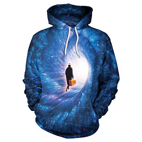 OOFAN Homme Sweats à Capuche Pull Unisex 3D Prints Hoodie Sweatshirt Voyage Ciel étoilé Patterned,A,XL