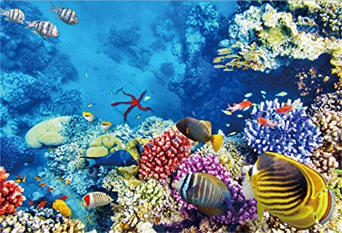 Background Underwater World Marine Life Photography Backdrop Sea Ocean Coral Tropical Fishes Starfish Aquarium Marine Park Diving Child Adult Photo Studio Props Vinyl Wallpaper 80x60in(150x200in)