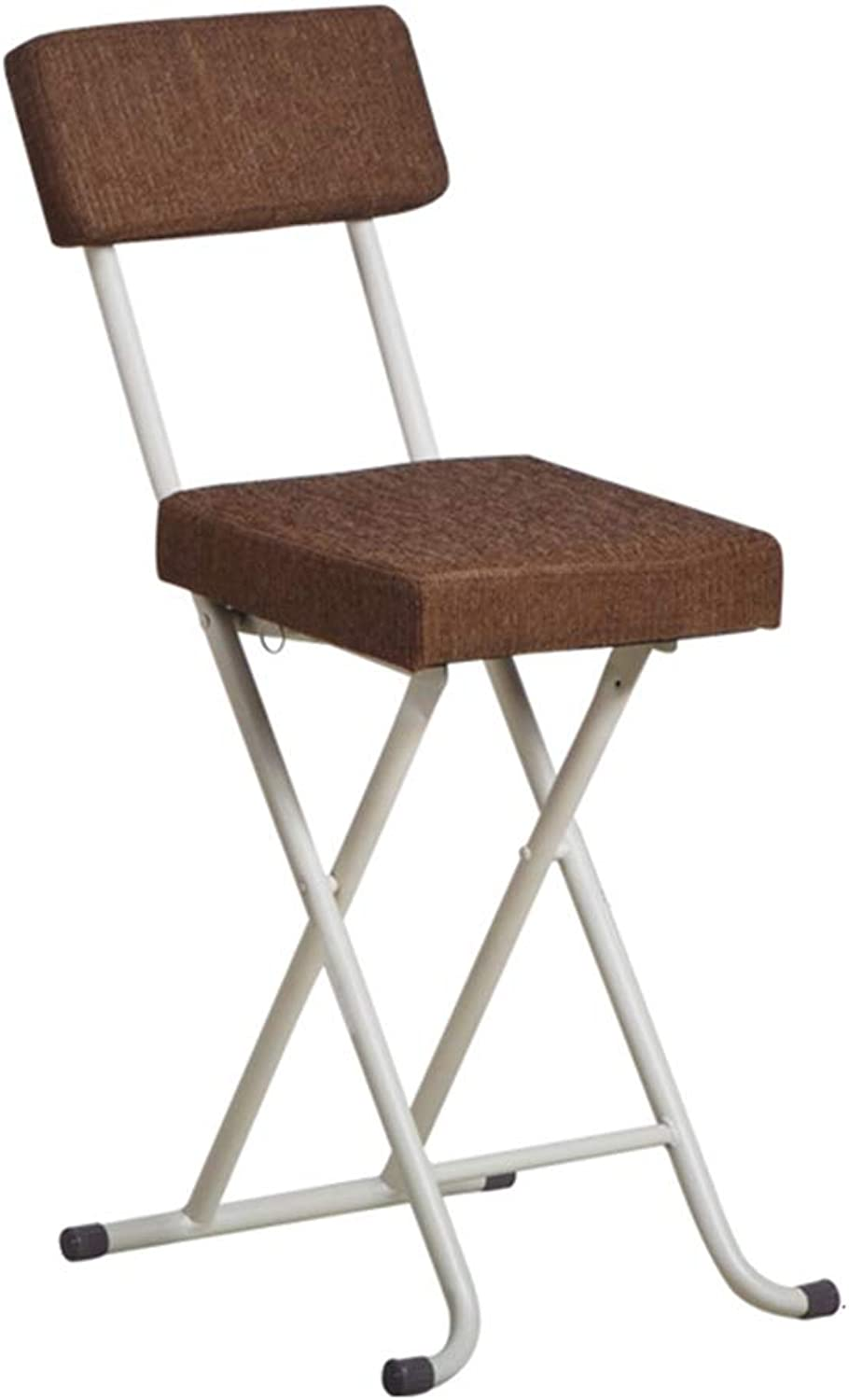 Padded Folding High Chair Bar Stool Compact High Chair Steel Frame Plastic Seat Kitchen Portable - White, Brown
