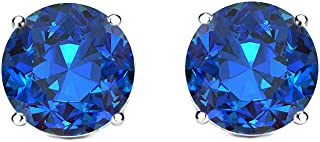 Cate & Chloe 2CT. TW. Beyonce Gemstone Silver Stud Earrings, Large Round Brilliant Crystal Silver Studs Earring Sets for Women, Womens Rhinestone Fashion Statement Jewelry