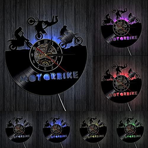 orologio da parete Orologio da parete per bici da motocross in vinile, arredamento per la stanza del ragazzo, orologio silenzioso da motocross, motore da corsa, motociclista, regalo per ragazzo