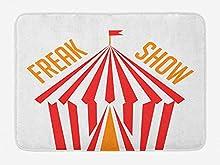 Alfombra de baño Freak Show, Carpa de Circo con Bandera y Rayas tipográficas en Tonos veraniegos, Alfombra de Felpa Decorativa para baño con Respaldo Antideslizante, Naranja Coral Oscuro