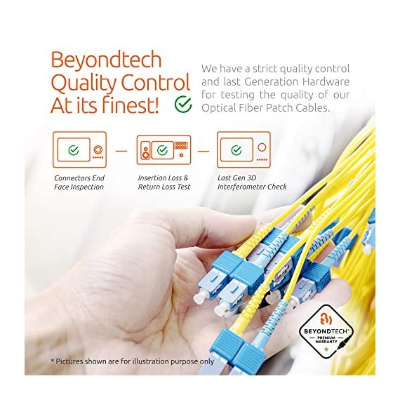 Single Mode Fibre Patch Cord - Duplex - UPC/UPC - 9/125um OS1 Multi-Packs / - Beyondtech PureOptics Cable Series 5 Beyondtech high-quality SC to SC Fiber Patch Cable Single mode 9/125 OS1 fiber is specially designed for fast Ethernet, Fiber Channel, Gigabit Ethernet Speeds, data center, premises, educational, LAN, SAN, commercial, 10GBASE-L (1310 nm), 10GBASE-E (1550 nm), 1000BASE-LX (1300 nm) and Asynchronous Transfer Mode (ATM) applications. It supports video, data and voice services. This fiber OS1 SC SC Fiber Patch Cord conforms with TIA/EIA 492AAAA and IEC60793-2-10 A1b standards and complies with RoHS specifications. This SM fiber has an yellow color jacket with a 3.00mm diameter. OS1 cables have a 0.25 dB/km attenuation at 1550 nm and 0.35 dB/km at 1310 nm.