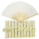 Aweisile 10 piezas Abanico Plegable de Mano Abanicos Abanicos Bambú Abanicos de Tela con Caja...