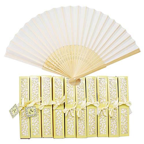 Aweisile 10 piezas Abanico Plegable de Mano Abanicos Abanicos Bambú Abanicos de Tela con Caja Decorativa y Cintas de Seda, Abanicos Blanco para Invitados de Boda Fiesta Regalo