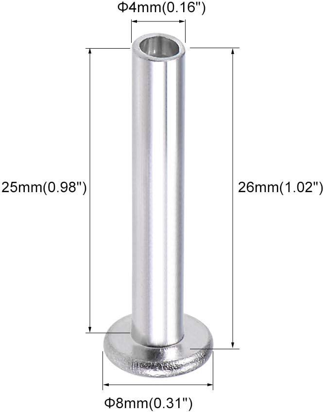 uxcell 100 Pcs 2.5mm x 5mm Aluminum Flat Head Semi-Tubular Rivets Silver Tone
