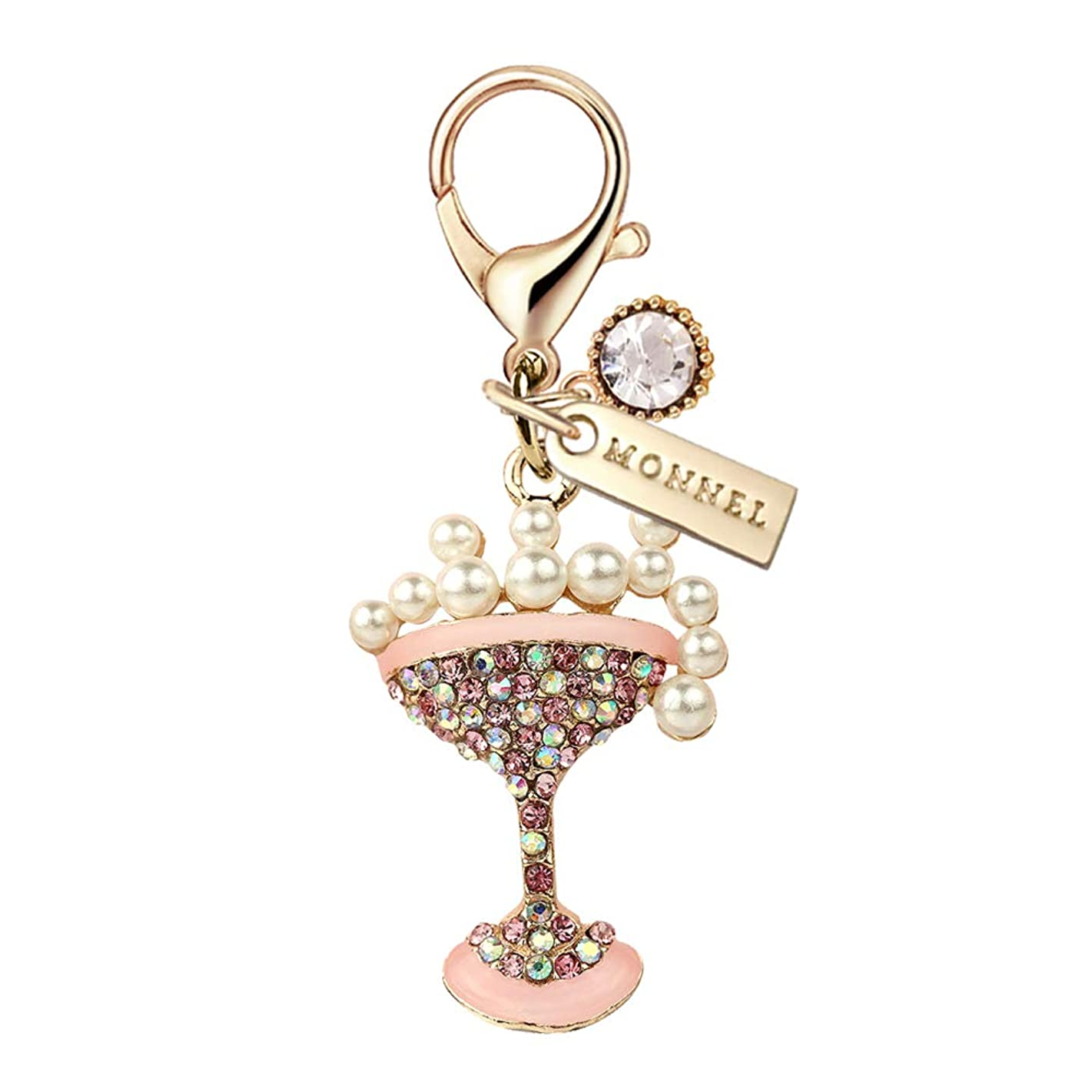 MC103 New Arrival Crystal Pink Cocktail Lobster Clasp Charm Pendant with Pouch Bag (1 Piece)