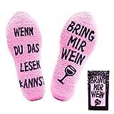 Jeasona Kuschelsocken Damen Flauschige Lustige Wenn Du Das Lesen Kannst Socken mit Motiv Wein Geschenke für Frauen