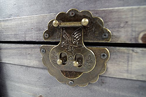 Kobolo Truhe Kuba im Schatzkistendesign aus grauem Holz mit Metall- und Kunstlederapplikationen - 5